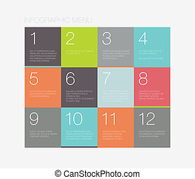 Flat infographic menu interface - Flat infographic vector...