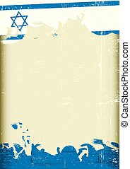 Grunge israeli flag - An israeli flag with a large frame for...