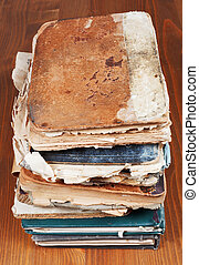 antique books on wooden table