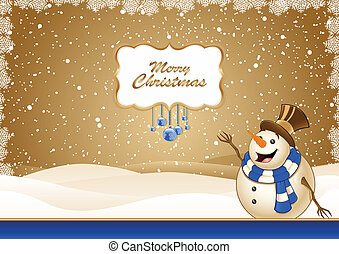 Christmas Scene Blue With Snowman - Christmas Scene With...