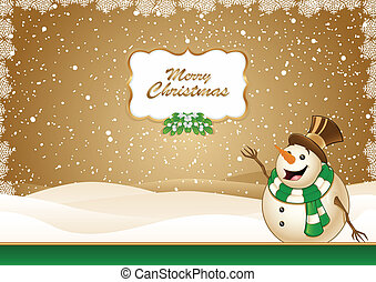 Christmas Scene Green With Snowman - Christmas Scene With...