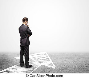 businessman thinking - businessman looking for unknown...