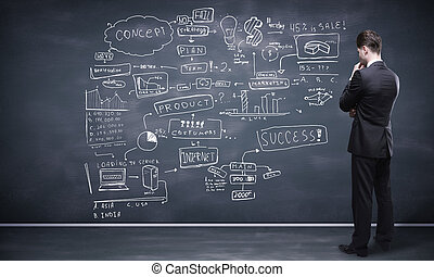 business strategy - man looking at business strategy on...