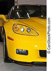 Yellow Corvette ZR1 sports car head on view