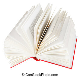 open book isolated on white background - red fanned open...