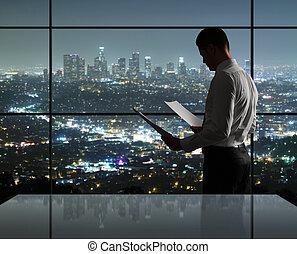 homem, noturna, escritório