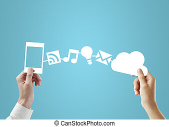 social media concept - phone and cloud in hands, social...