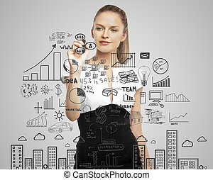 drawing business concept - businesswoman drawing business...