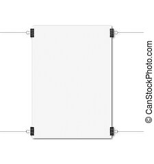 white poster clips on white background