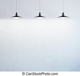 wall and lamps - wall with three ceiling lamps