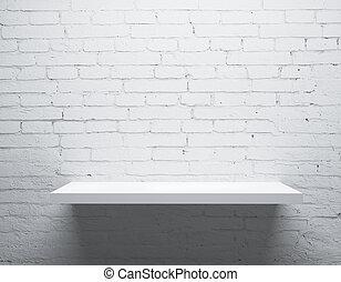 wall and shelf - brick wall and white shelf