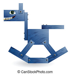 Blue wooden horse Vector illustration
