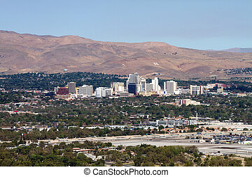 Reno Nevada Skyline - The city skyline of Reno, Nevada with...