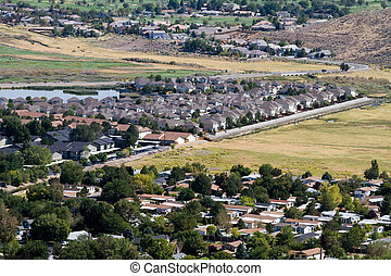 Suburban Sprawl - Aerial view of suburban neighborhoods as...