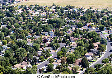 Suburbs Aerial - Aerial view of neighborhood suburbs around...
