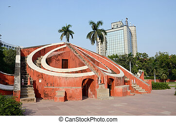 Jantar Mantar- medieval observatory in Delhi, India.Primary...