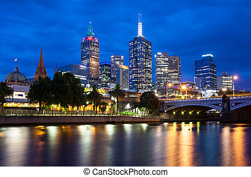Melbournes Skyline At Dusk - Melbourne skyline, from...