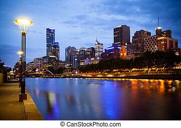 Melbourne Skyline - Melbourne skyline along the Yarra River...