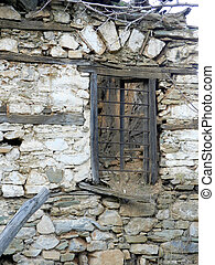 Old ruined window. Window of old house