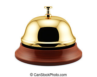 Golden reception bel - 3d render of golden reception bell...
