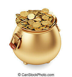 pot of gold coins - 3d render pot of gold coins isolated on...