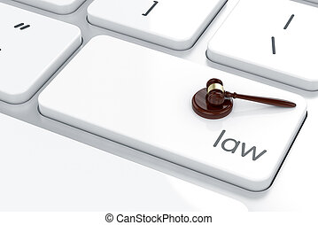 Judge concept - Judge gavel button on keyboard with soft...