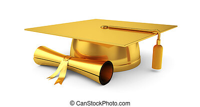 Golden graduation cap with diploma - 3d illustration of...