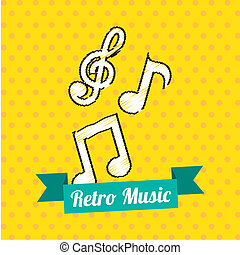 retro music design over yellow background vector...
