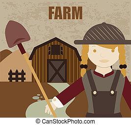 farm fresh label over pattern background vector illustration