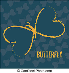 beatiful butterfly over blue  background vector illustration