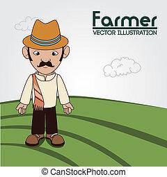 farm fresh label - farm fresh label over field background...