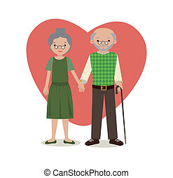 grandparents over white background vector illustration