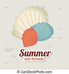 summer design - summer design over sand background vector...