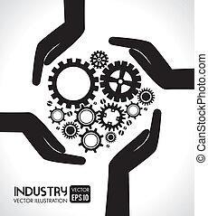 gears design over gray background vector illustration