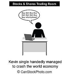 Economic Crash - Kevin crashed the world economy cartoon...