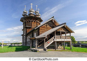 Wooden church at Kizhi, Russia - Wooden Orthodox Christian...