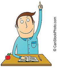raising hand student