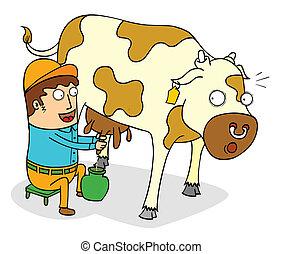 squeezing cow milk