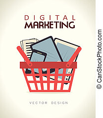 digital marketing over beige background vector illustration