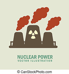 nuclear power - nuclear,power over gray background vector...