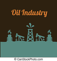 oil industry over brown background vector illustration