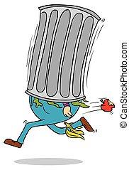 running trash bin