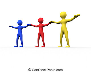 community - three 3d colored people hand in hand