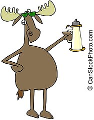 Moose raising a toast - This illustration depicts a moose...