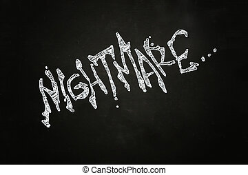 Nightmare Creepy Lettering, written with Chalk on Blackboard