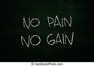 No Pain No Gain Lettering, written with Chalk on Blackboard