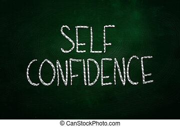 Self Confidence Lettering, written with Chalk on Blackboard