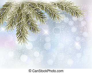 Christmas background with tree branches and snowflakes....