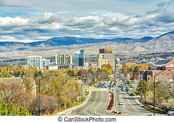 Capital street in Boise Idaho and foot hills - Main streen...
