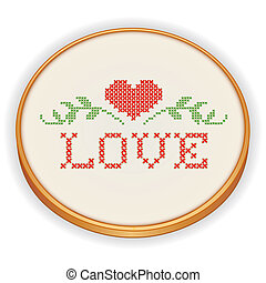 Embroidery, Heart and Love - Retro wood embroidery hoop with...